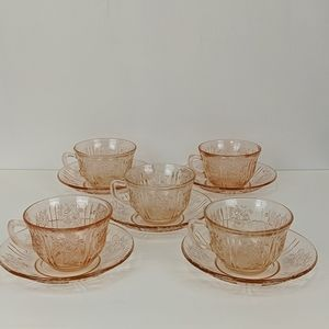 Vtg Pink Depression Glass 5 Cups and Saucers